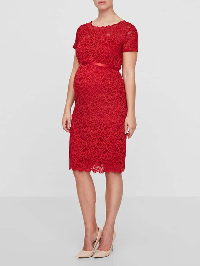 Maternity Dress Red Mamalicious Marylin