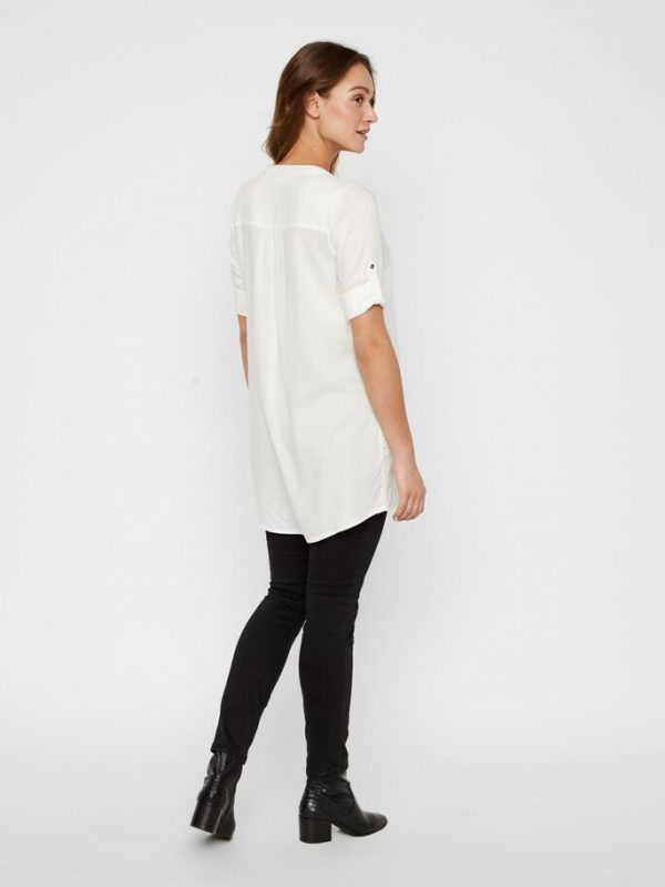 Mamalicious 3/4 Sleeve Mercy White Tunic Blouse